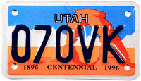 1996 Utah Motorcycle License Plate