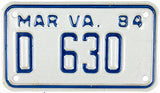 1984 Virginia Motorcycle Dealer License Plate