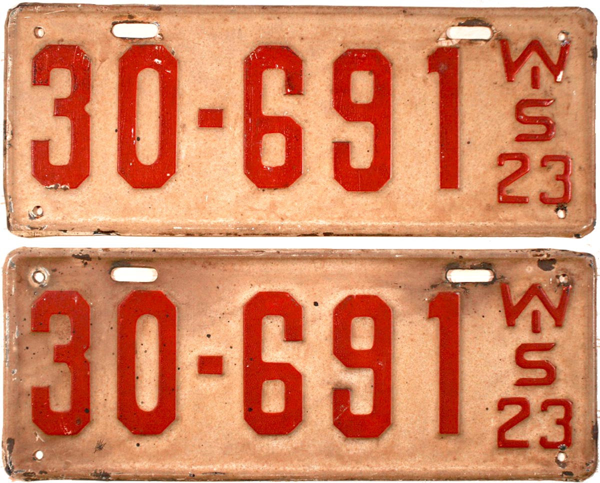 1923 Wisconsin License Plates