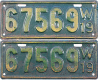 1919 Wisconsin License Plates
