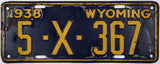 1938 Wyoming Trailer License Plate