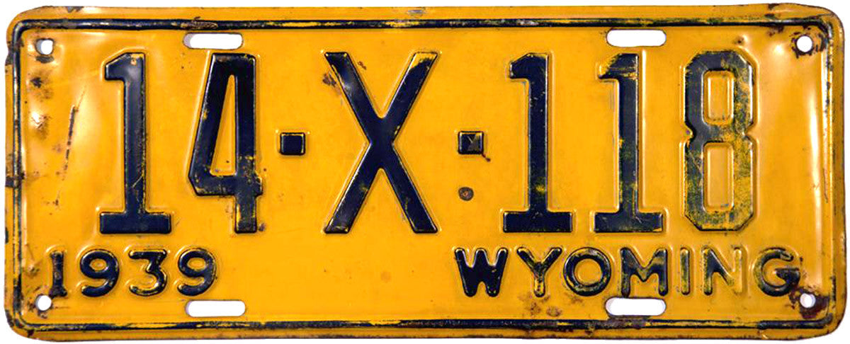 1939 Wyoming Trailer License Plate