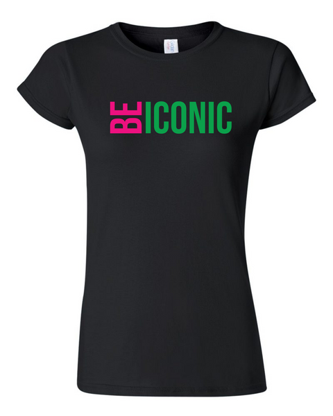 """BE ICONIC"" Women's Fit (Black w/Pink & Green)- T-Shirt"