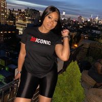 """BE ICONIC"" T-Shirt (Black w/Red & White)"