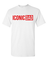 """Iconic Dad"" T-Shirt (White w/Red)"