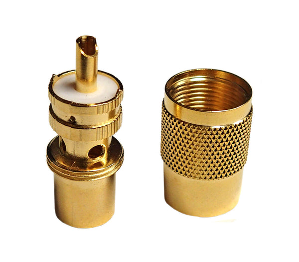 High Quality Gold Teflon Type PL259 Connectors - 2 Piece Solder Type Design