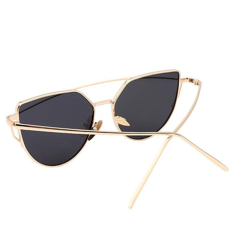 Vintage Metal Reflective Cat Eye Sun Glasses Mirror Sunglasses