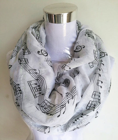 New Fashion Music Piano Notes Script Printed Infinity Scarf