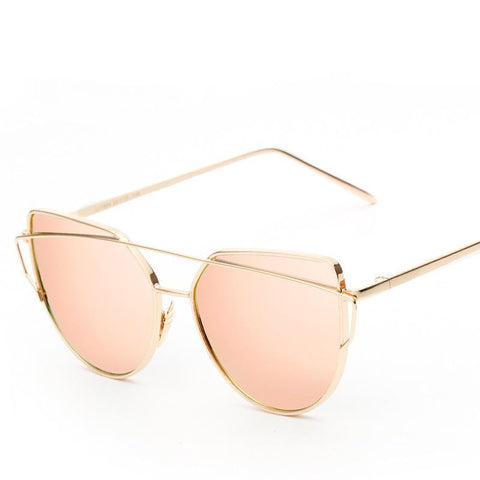Rose Gold Metal UV400 Lentes De Sol Hombre Fashion Cat Eye Sunglasses