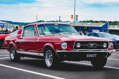 for mustang vintage race red old school