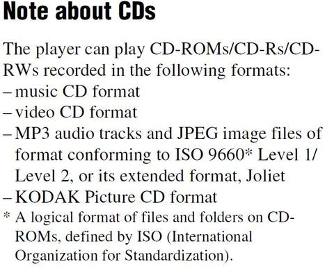 Playable recorded CD formats for sony 400 jukebox