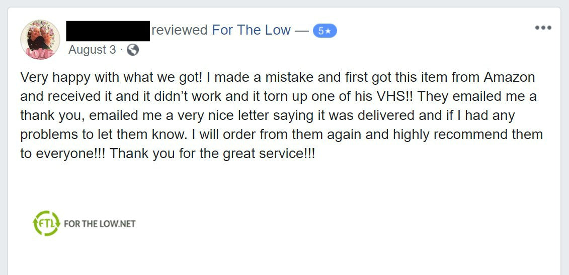 Positive 5 star facebook review of ForTheLow.Net