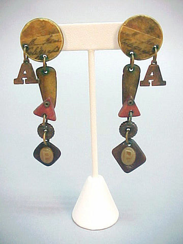 Kinetic charm earrings, w/ carved elements, ca. 1970s