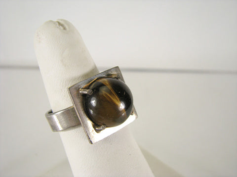 Modernist sterling ring with tigers eye, ca. 1970s