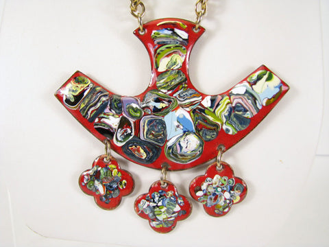 Enameled copper necklace with abstract design, ca. 1960s