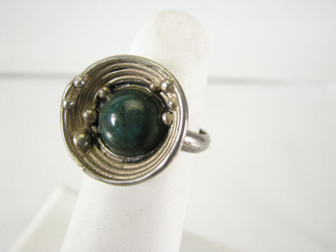 Modernist silver ring with eilat stone, Israeli, ca. 1970s