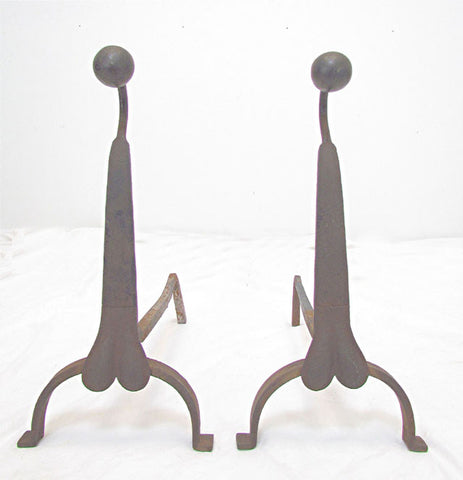 Unusual Pair of Hand Forged Boston Bohemian Andirons