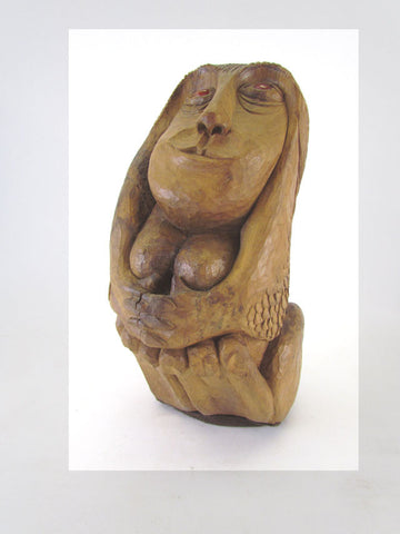 Carved Wood Mid-Century Sculpture of a Female Form by D. Derrick