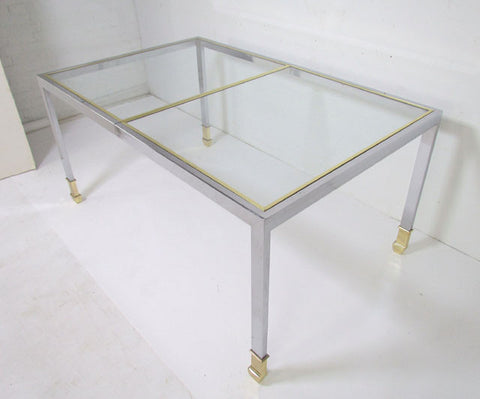 Expandable Chrome & Brass Dining Table by Design Institute of America, DIA