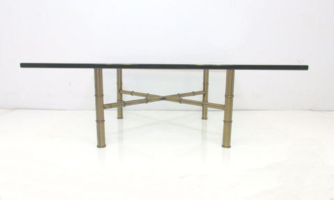 Hollywood Regency Bronzed Metal & Glass Coffee Table