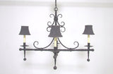 French Modernist Wrought Iron Chandelier