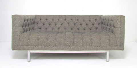 Mid-Century Jack Cartwright Tufted Chesterfield Tuxedo Settee Sofa