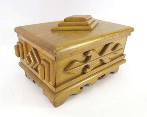 Folk Art Wooden Lidded Jewelry Box ca. 1950s