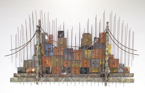 Brutalist Metalwork Cityscape & Bridge Wall Sculpture