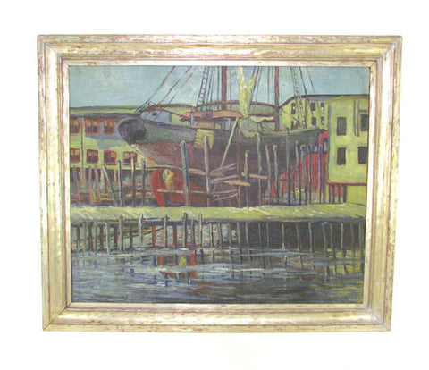 Modernist Rockport School Painting in the Manner of Emile Gruppe