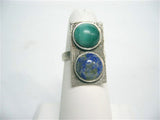 Mod silver ring with malachite cabochons, ca. 1960s