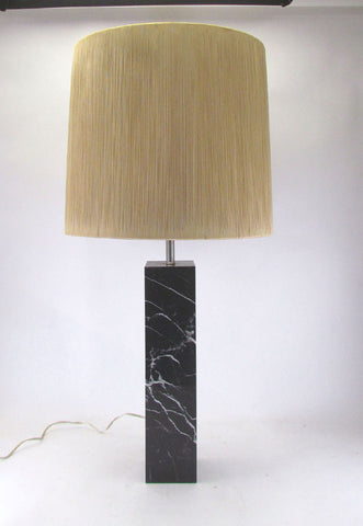 Monolithic Marble Table Lamp by Nessen Studios with Original Shade, circa 1960s