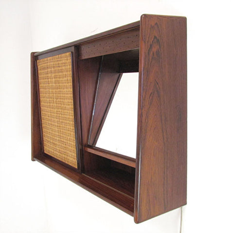 Wall Mounted Danish Rosewood and Cane Mirror Hallway Cabinet