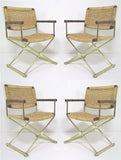 Set of Four Brass X-Form Director Style Armchairs