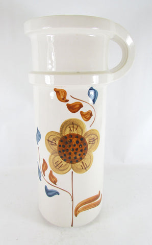 Monumental Handled Hand Painted Jug Vase by Lapid, Israel