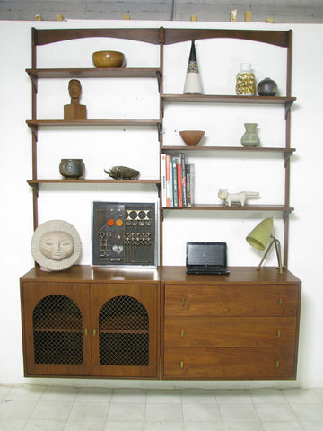 Two-bay mid-century modern wall unit in walnut ca. 1960s