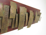 Brutalist Mid-Century Wall Sculpture on Teak Panel by GE Lane