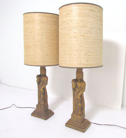 Pair of hollywood regency standing buddha table lamps by westwood pair of hollywood regency standing buddha table lamps by westwood aloadofball Images