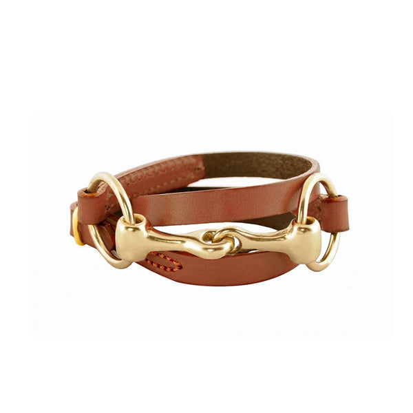Brass Bit Leather Wrap Bracelet | Light Brown