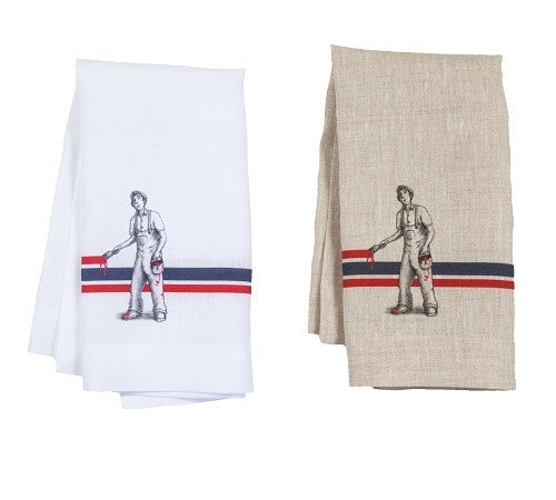 Natural Ticking Linen Cheeky Painter Napkin - GDH | The decorators department Store
