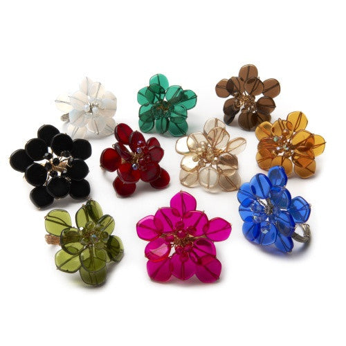 Deborah Rhodes Mod Coin Flower Napkin Ring S/6 - GDH | The decorators department Store - 1