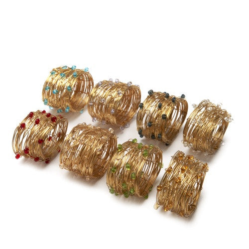 Deborah Rhodes Oval Beaded Wire Cuff Napkin Ring S/ 6 - GDH | The decorators department Store - 1