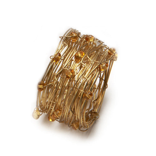 Deborah Rhodes Oval Beaded Wire Cuff Napkin Ring S/ 6 | Amber - GDH | The decorators department Store