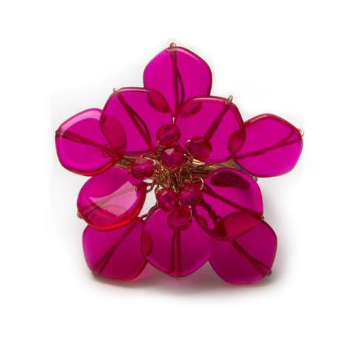 Deborah Rhodes Fuchsia Mod Coin Flower Napkin Ring S/6 - GDH | The decorators department Store