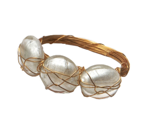 Glass Coin Bar Napkin Ring | Pearl - GDH | The decorators department Store