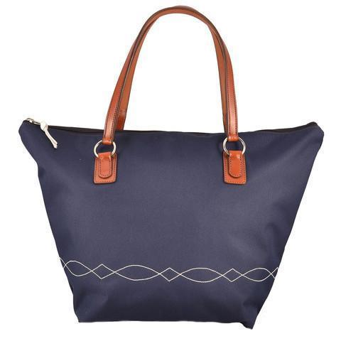Lightweight Bridle Stitch Tote Blue