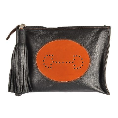 Select Leather Bit Emblem Clutch | Black