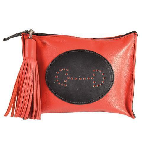 Select Leather Bit Emblem Clutch | Red