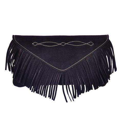 Bridle Stitch Fringe Suede Clutch | Black