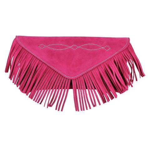 Bridle Stitch Fringe Suede Clutch | Bright Berry