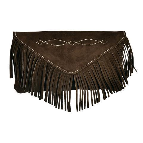 Bridle Stitch Fringe Suede Clutch | Chocolate